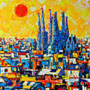 Abstract Sunset Over Sagrada Familia In Barcelona Poster