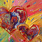Abstract Valentines Love Hearts Poster by Julia Apostolova