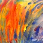 Abstract Watercolor Painting With Fire Flames Poster