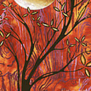 Abstract Wood Pattern Painting Original Landscape Art Moon Tree By Megan Duncanson Poster