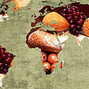 Abstract World Map - Harvest Bounty - Farmers Market Poster