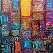 Abstrtact City Sunset Poster