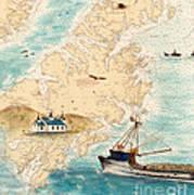Accomplice Kodiak Crab Fishing Boat Cathy Peek Nautical Chart Map  Poster