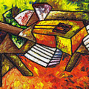 Acoustic Guitar On Artist's Table Poster