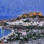Acropolis Village And Beach Of Lindos Poster