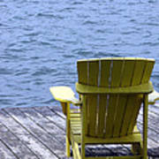Adirondack Chair On Dock Poster