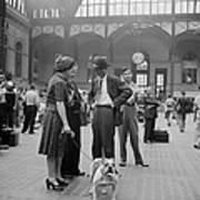 Admiring The Dog At Penn Station 1942 Poster