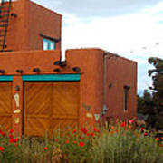 Adobe House And Poppies Poster