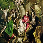 Adoration Of The Shepherds Poster by El Greco Domenico Theotocopuli