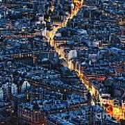 Aerial Night View Of Paris Poster
