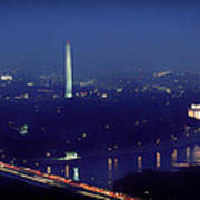 Aerial Night View Of Washington Dc Poster