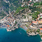 Aerial View Of A Town, Atrani, Amalfi Poster