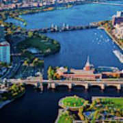 Aerial View Of Bridges Crossing Charles Poster