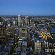 Aerial View Of Melbourne At Night Poster