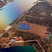 Aerial View Of Riga. Latvia. Rainbow Earth Poster