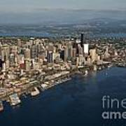 Aerial View Of Seattle Skyline With Elliott Bay And Ferry Boat Poster