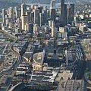 Aerial View Of Seattle Skyline With The Pro Sports Stadiums Poster