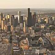 Aerial View Of The Seattle Skyline With Stadiums Poster
