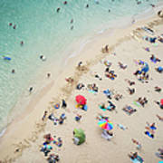 Aerial View Of Tourists On Beach Poster