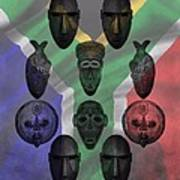 Africa Flag And Tribal Masks Poster