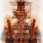 Aft Turret 3 Sun Down Uss Iowa Battleship Photo Art 01 Poster