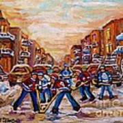 After School Winter Fun Street Hockey Paintings Of Montreal City Scenes Carole Spandau Poster