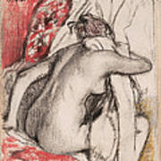 After The Bath.seated Woman Drying Herself Poster