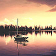 Afterglow  Sunset On Lake Sailboat Panoramic Picture Poster