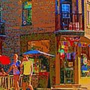 Afternoon Stroll French Bistro Sidewalk Cafe Colors Of Montreal Flags And Umbrellas City Scene Art Poster