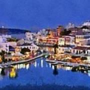 Painting Of Agios Nikolaos City Poster