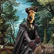 Airedale Terrier Art Canvas Print - Forest Landscape With Deer Hunting And Noble Lady Poster