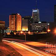 D1u-140 Akron Ohio Night Skyline Photo Poster