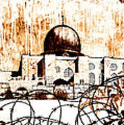 Al-asqa Mosque Palsetine- Mustard Poster by Salwa  Najm