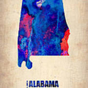 Alabama Watercolor Map Poster by Naxart Studio