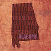 Alabama Word Art State Map On Canvas Poster