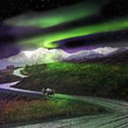 Alaska Aurora Denali Highway Poster