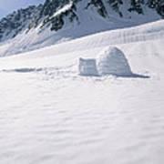 Alaska Range And Glacier With Igloo Poster