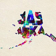 Alaska Typographic Watercolor Map Poster