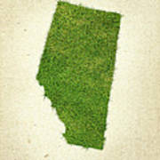 Alberta Grass Map Poster by Aged Pixel