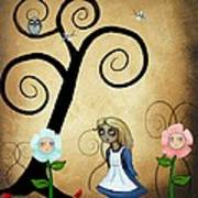 Alice In Wonderland Art - Alice And Flowers Poster