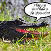 Alligator Birthday Card Poster