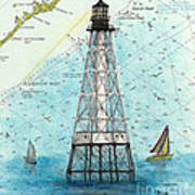 Alligator Reef Lighthouse Fl Keys Nautical Map Cathy Peek Poster