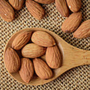 Almonds On A Spoon With Brown Background Poster