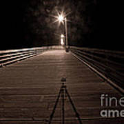 Alone On The Pier Poster by Ron Hoggard