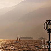 Alpine Lake With A Sailing Boat Poster