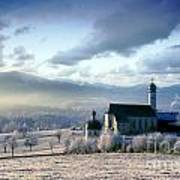 Alpine Scenery With Church In The Frosty Morning Poster