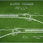 Alston Firearm Patent Drawing From 1887- Green Poster
