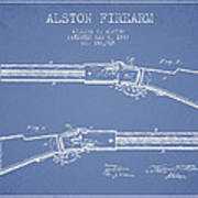 Alston Firearm Patent Drawing From 1887- Light Blue Poster