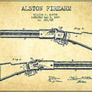 Alston Firearm Patent Drawing From 1887- Vintage Poster
