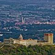 Amazing Medvedgrad Castle And Croatian Capital Zagreb Poster